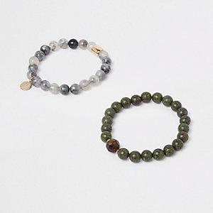 Lot de bracelets à perles verts