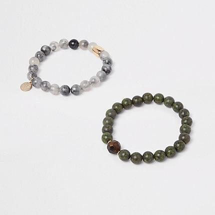 River Island Lot de bracelets à perles verts