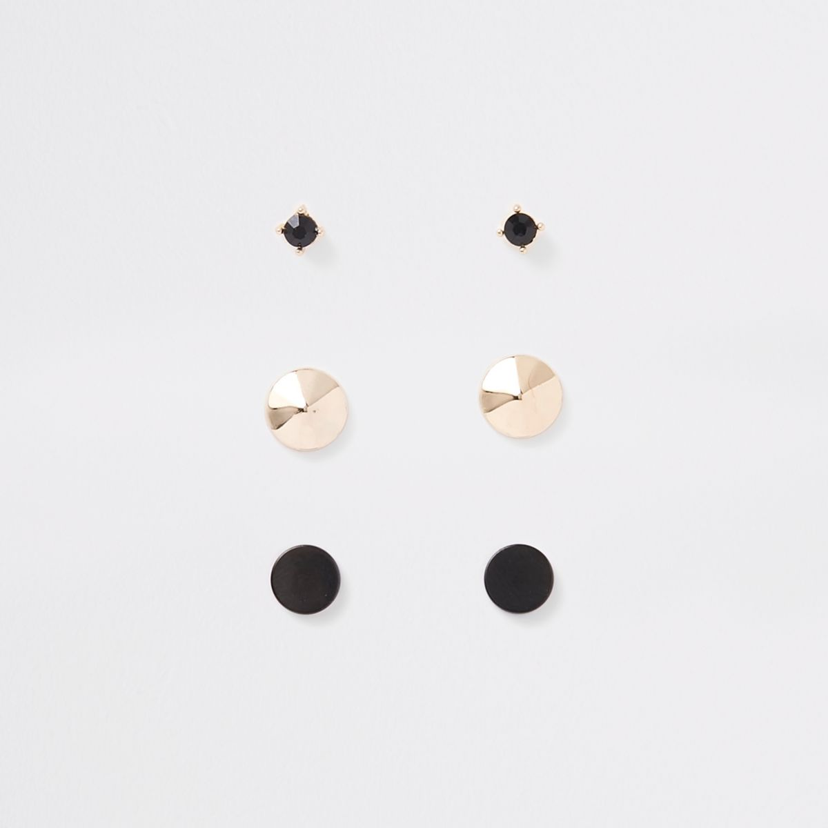 Black gold tone plug earrings multipack