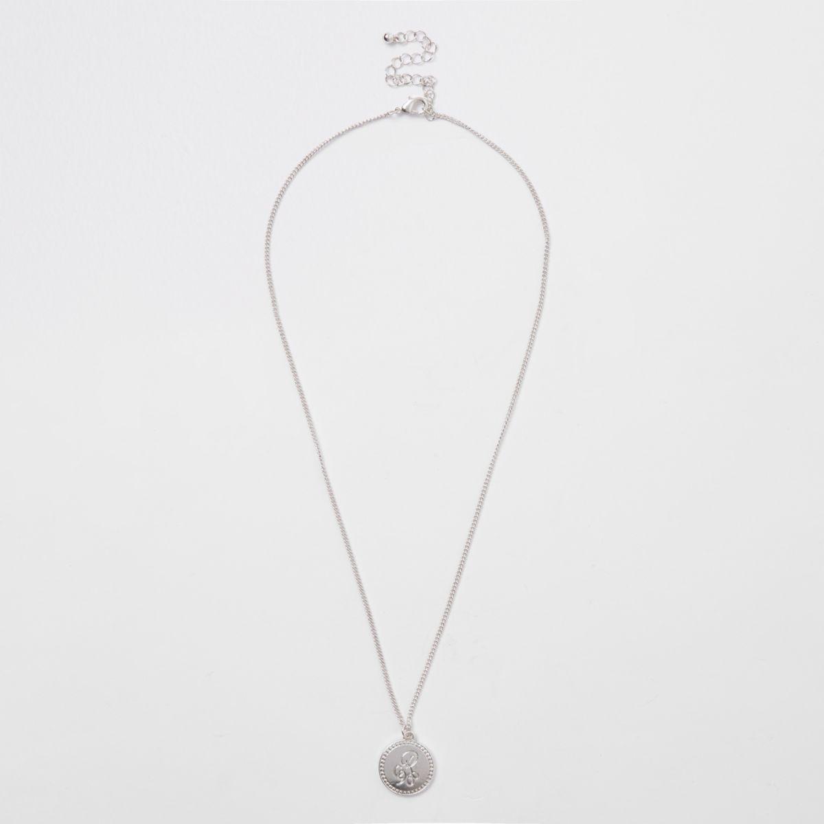 Silver tone RI coin necklace