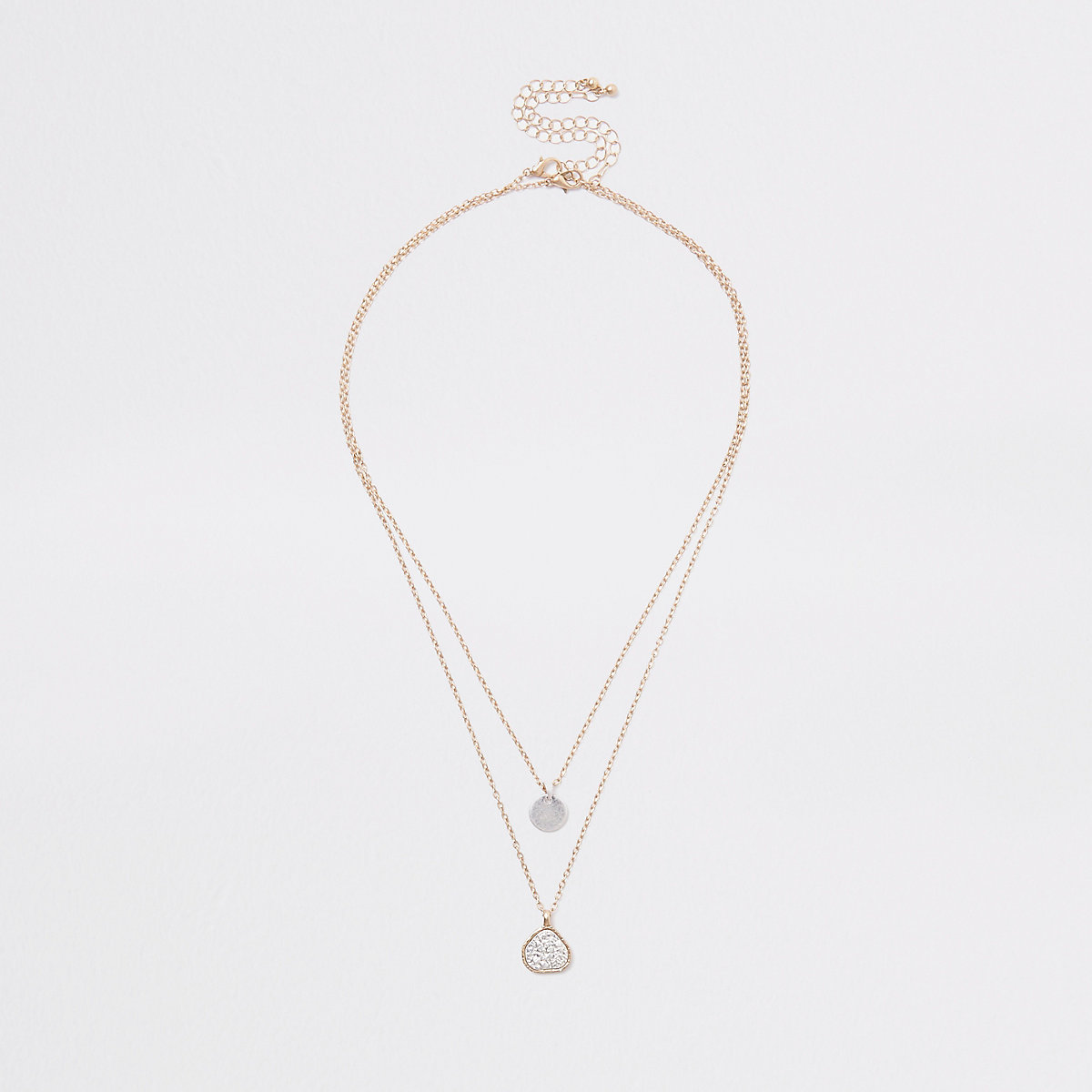 Gold tone double textured pendant necklace