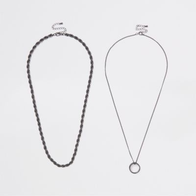 Black Ring Pendant Necklace Multipack by River Island
