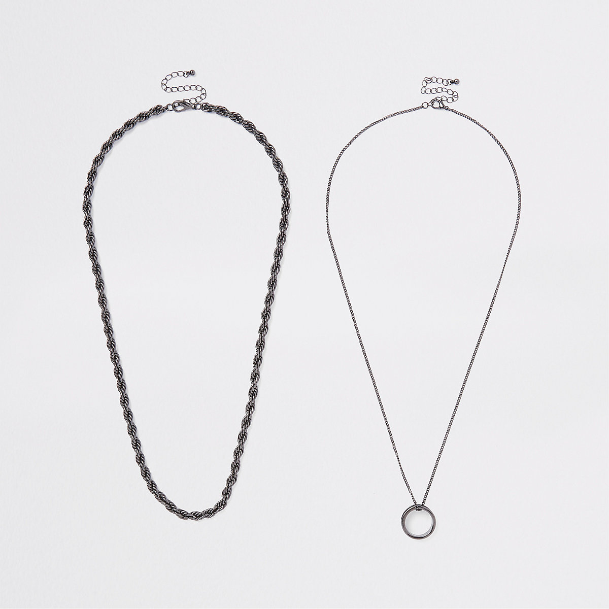 Black ring pendant necklace multipack