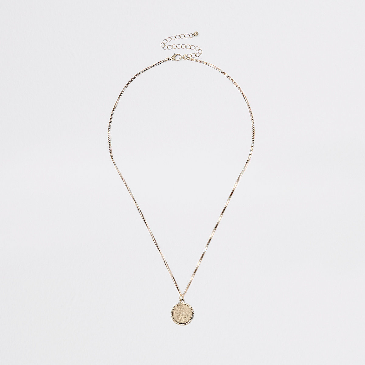 Gold tone textured coin necklace