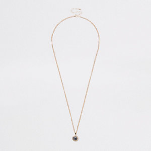 Gold tone marble stone necklace