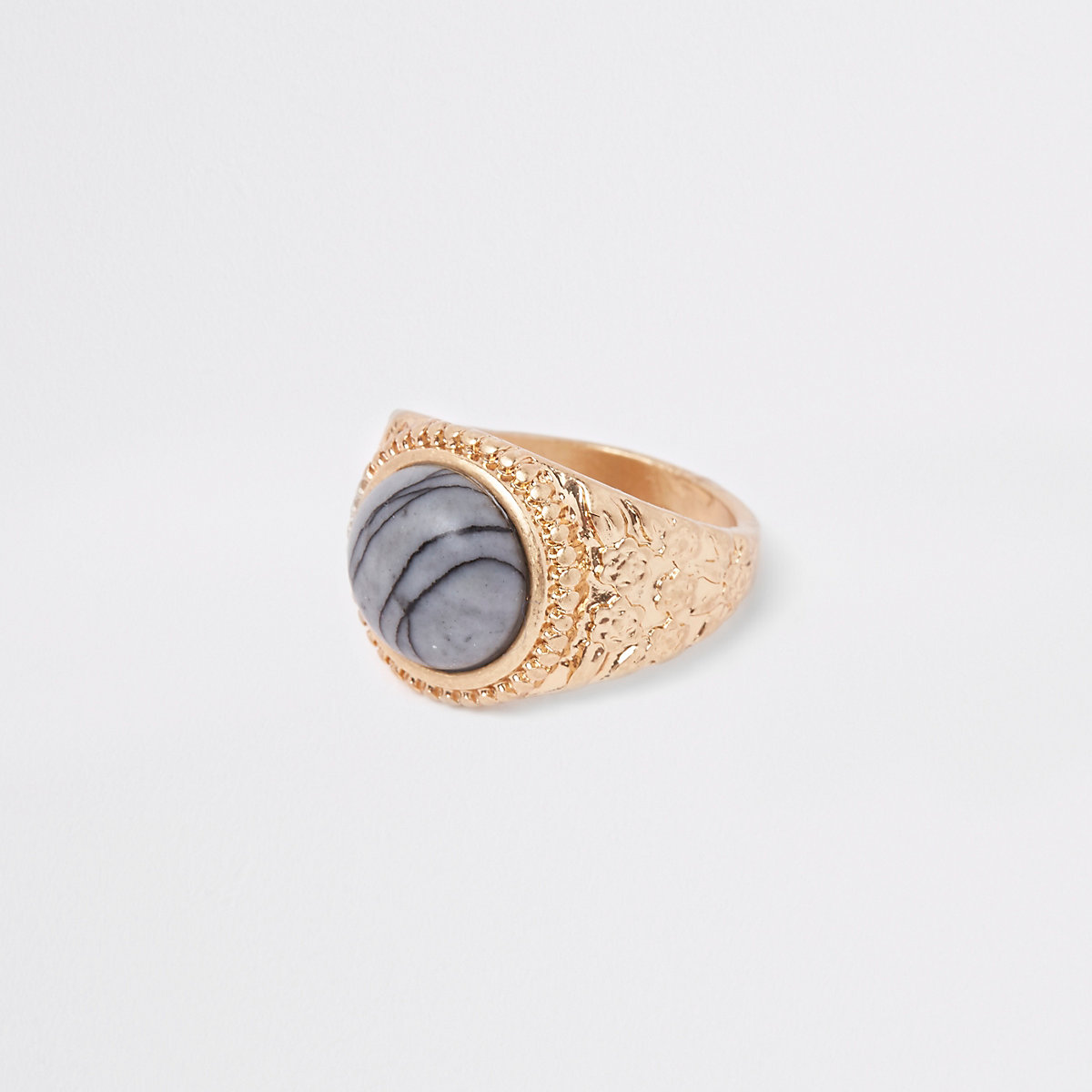 Gold tone marble stone ring