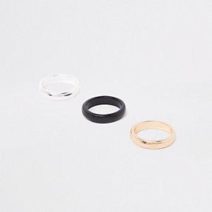 Multipack zwarte glimmende ringen