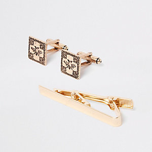 Gold tone RI cufflinks and tie bar set