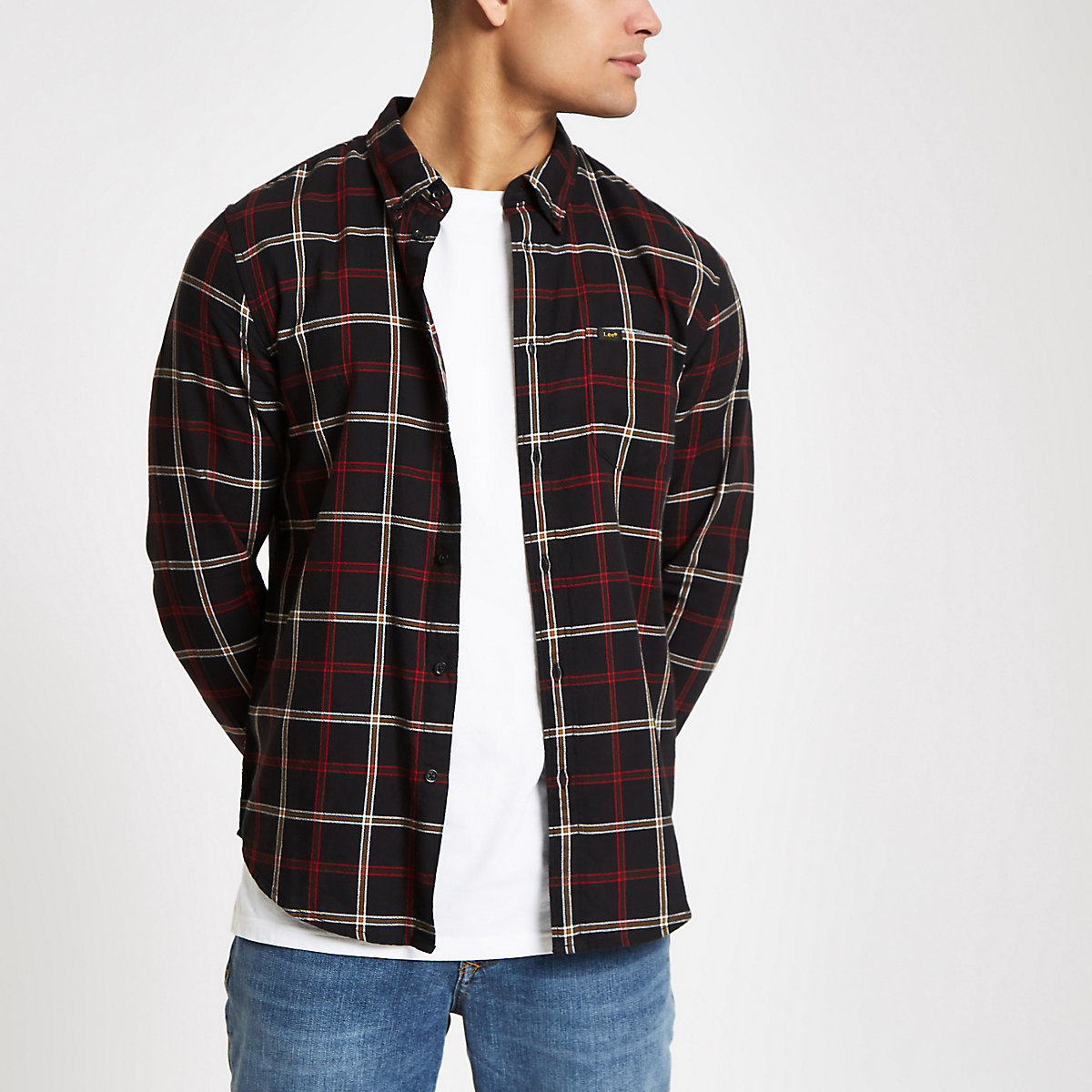 Lee black check button-down shirt