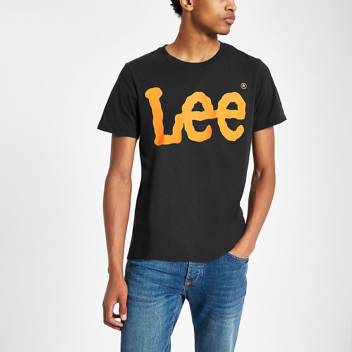 Lee black logo print crew neck T-shirt