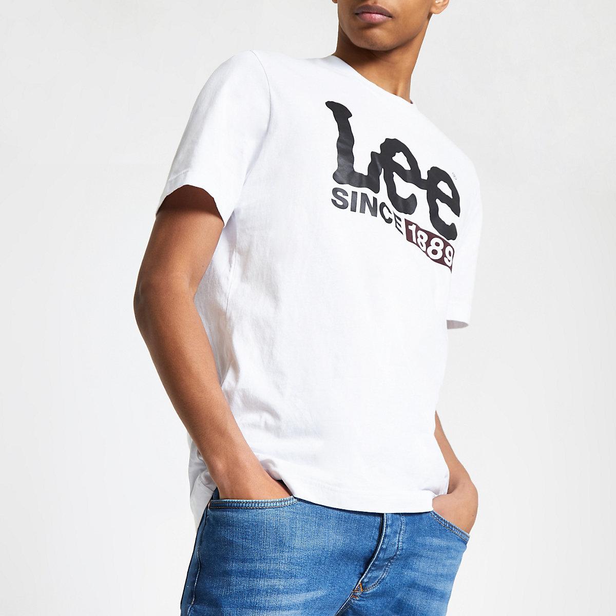 Lee white logo print T shirt
