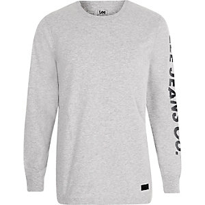 Lee – T-shirt manches longues gris à logo