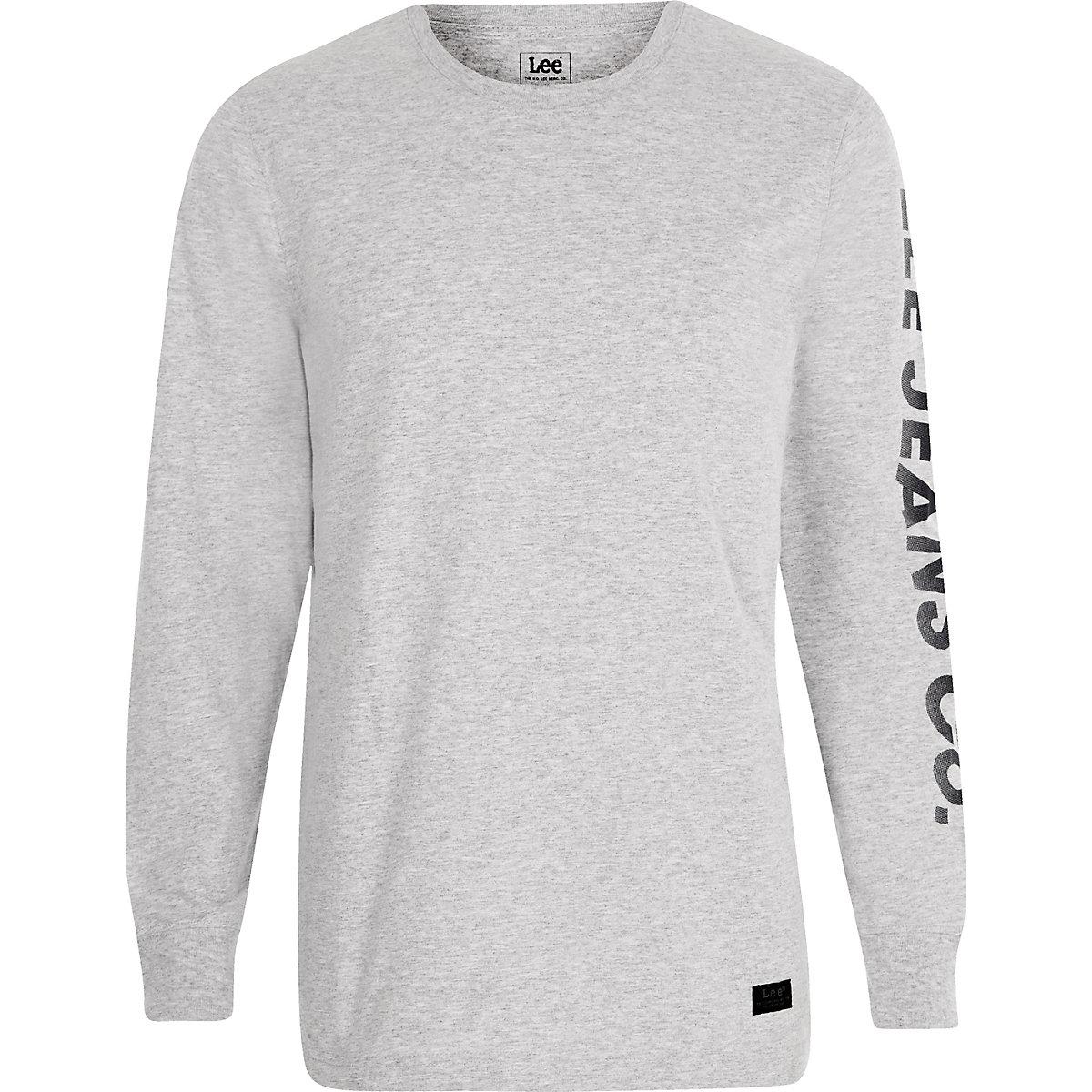 Lee grey logo print long sleeve T-shirt