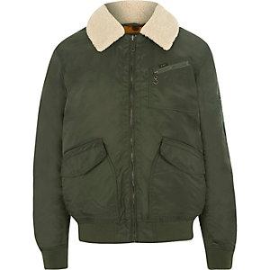 Lee – Khakigrüne Trainingsjacke mit Borg-Kragen