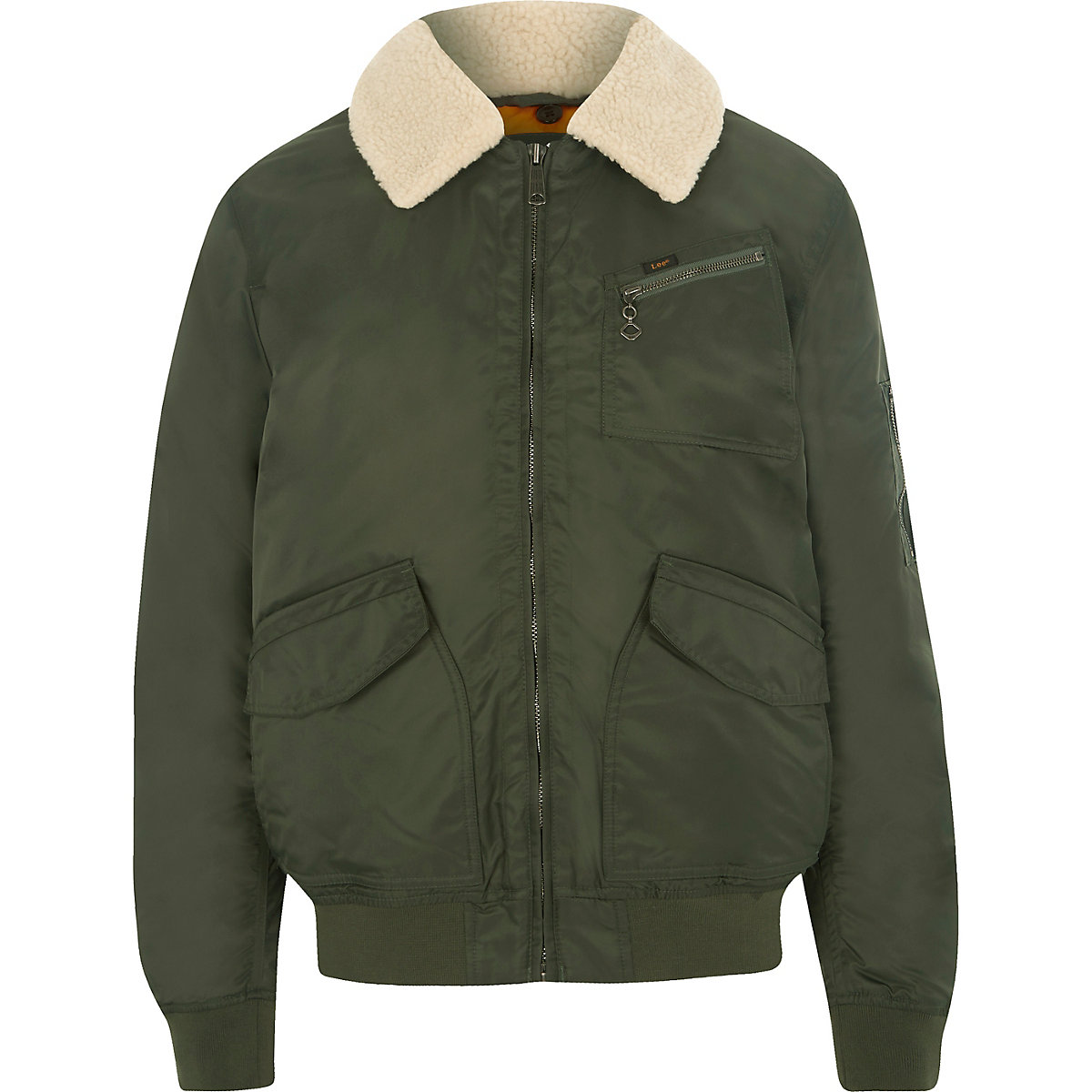 Lee khaki green borg collar coach jacket