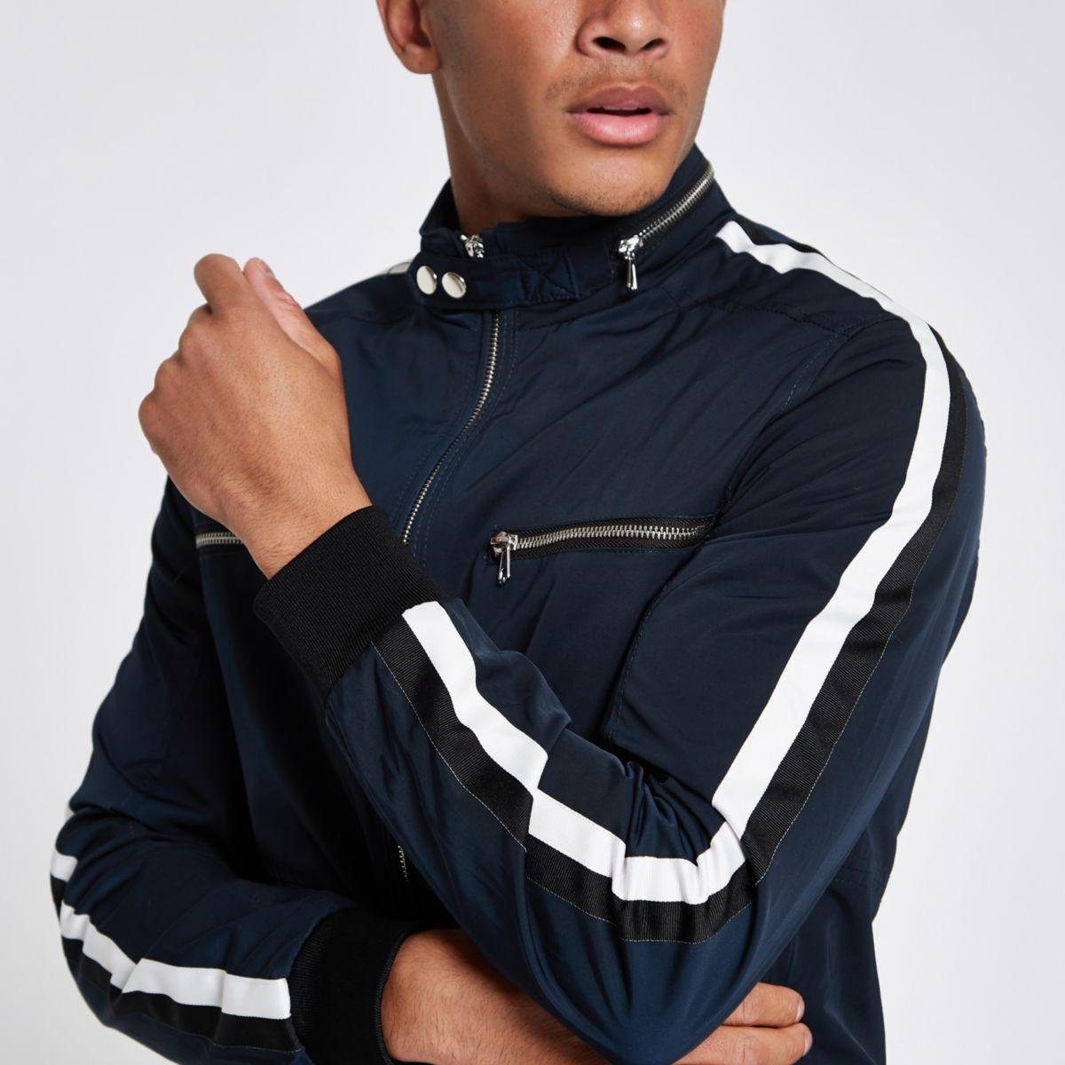 Navy racer neck tape side jacket