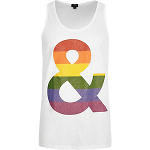White 'Pride and glitter' slim fit tank