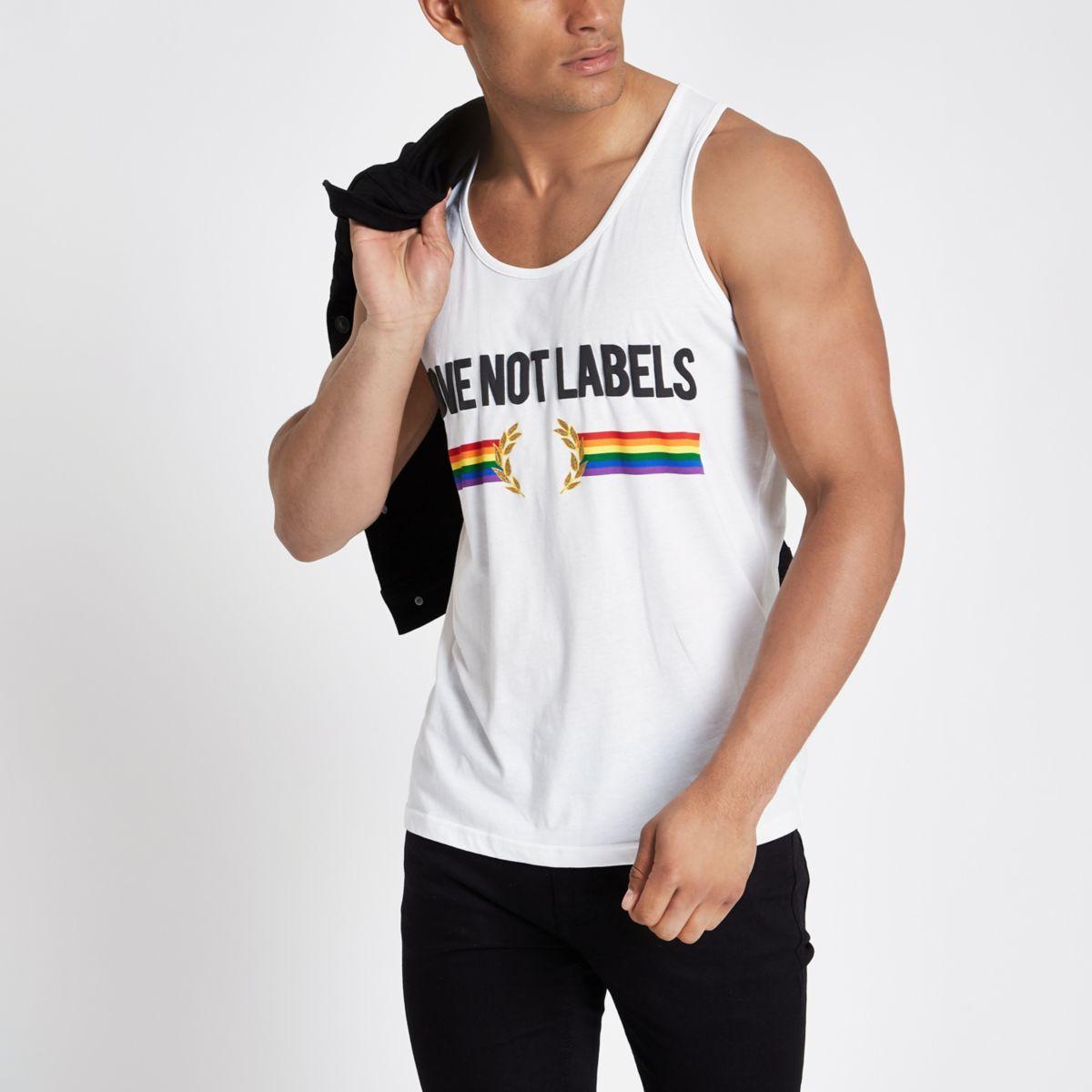 White 'love not labels' Pride slim fit tank