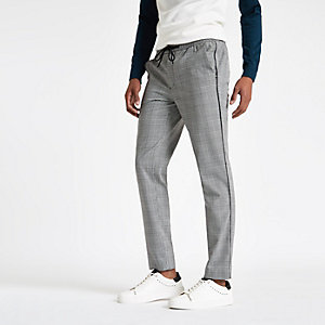 Pantalon de jogging skinny à carreaux noir et bandes latérales