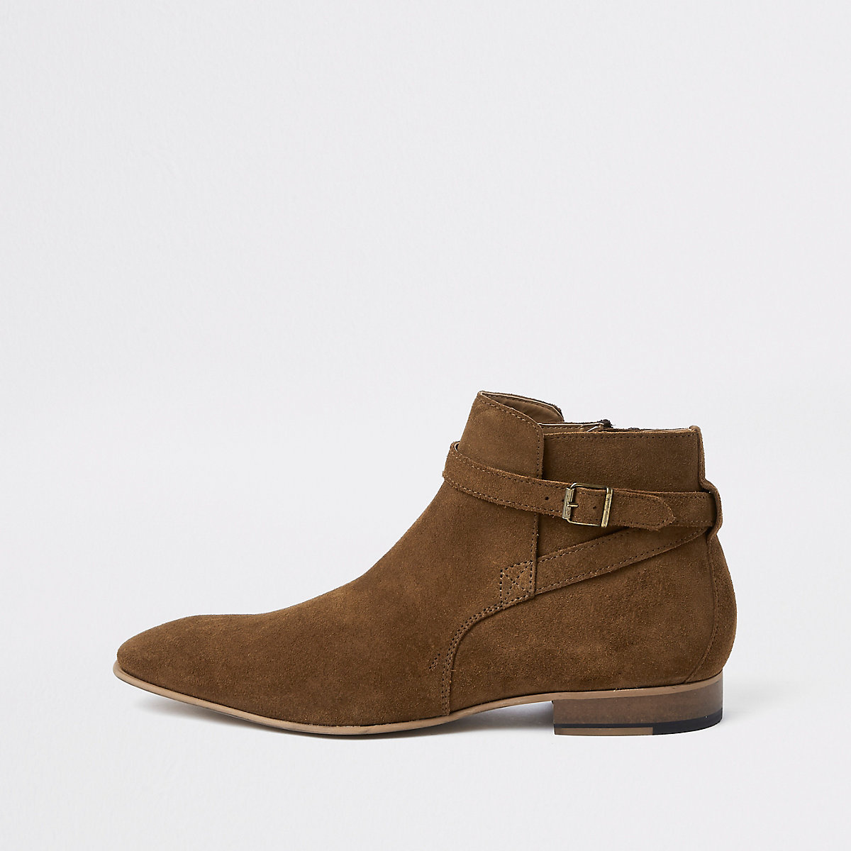Brown suede buckle Chelsea boots