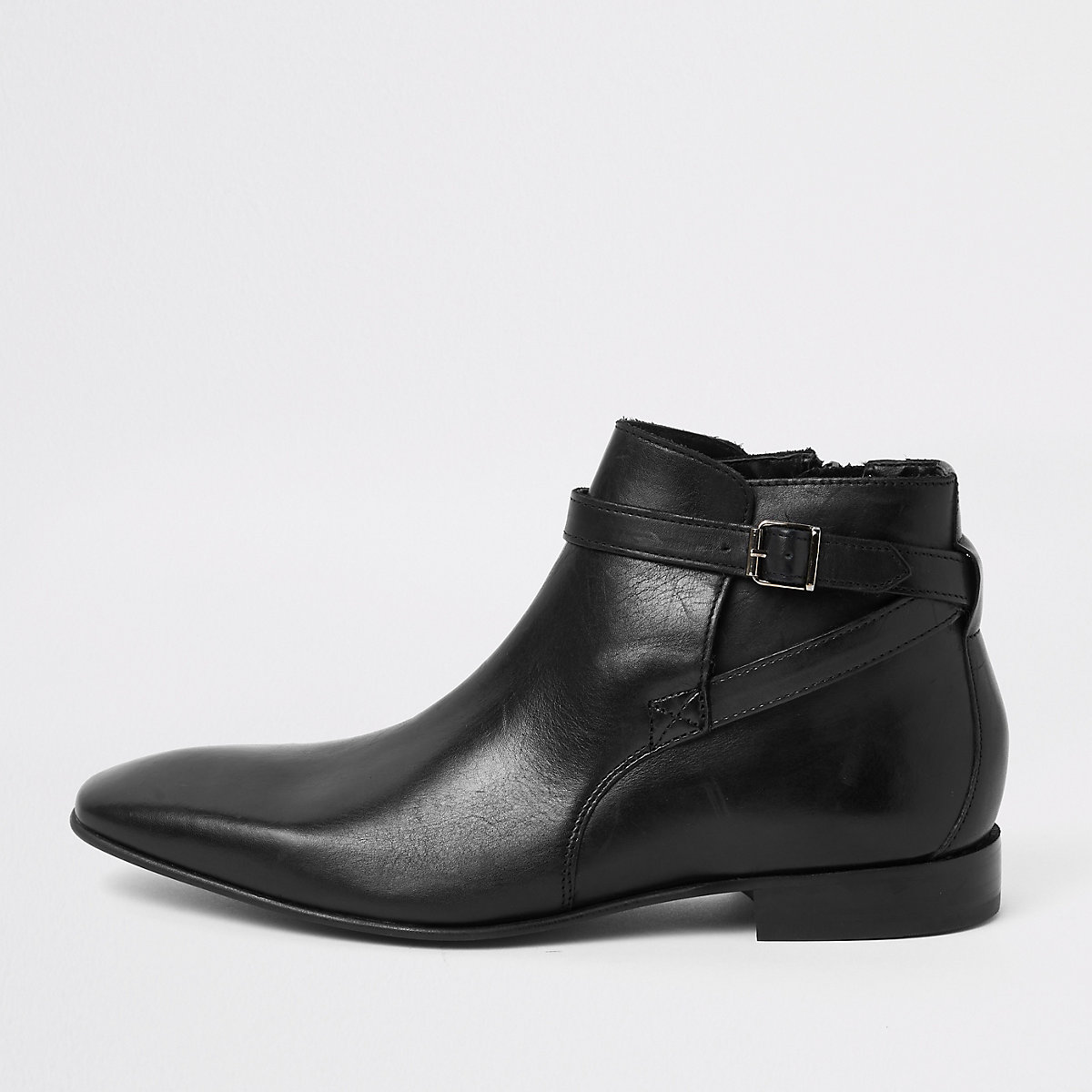 Black leather buckle Chelsea boots
