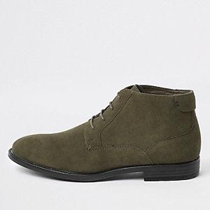 Dark green faux suede eyelet desert boots