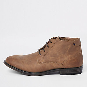 Brown faux leather lace up chukka boot