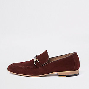 Dark red suede snaffle loafers