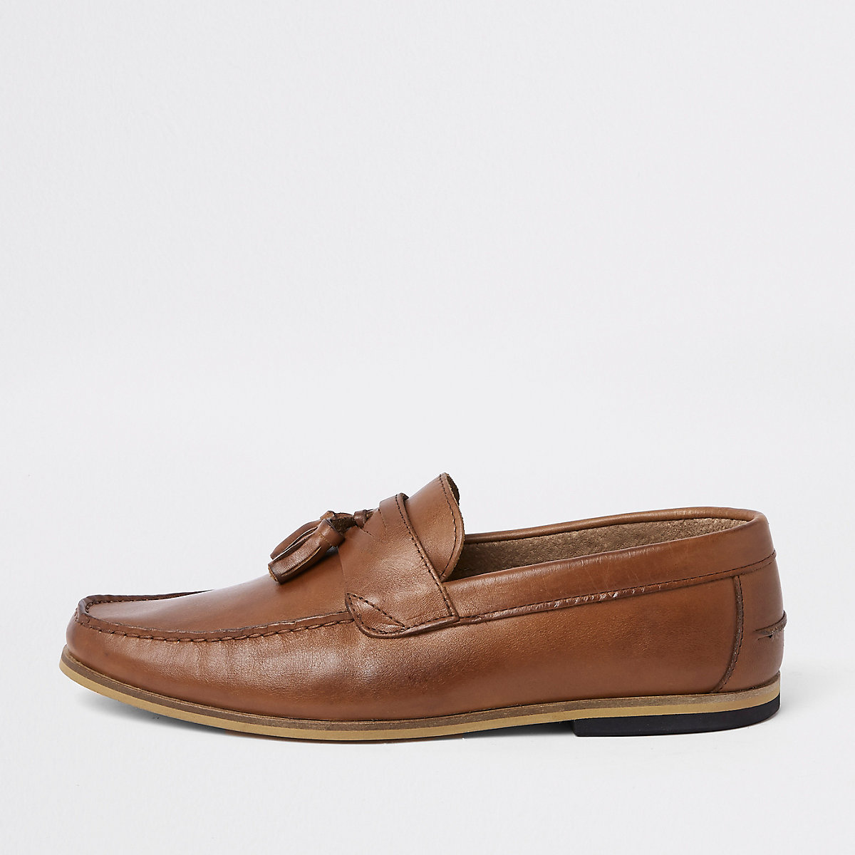 Brown wide fit leather tassel loafers