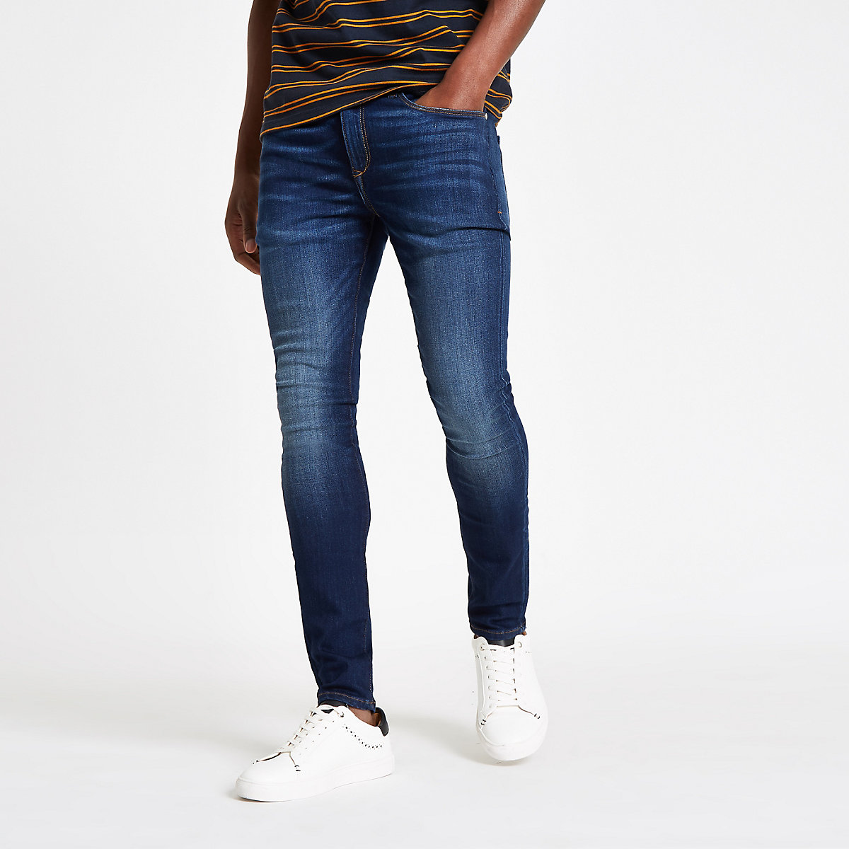 Dark blue Danny super skinny distressed jeans