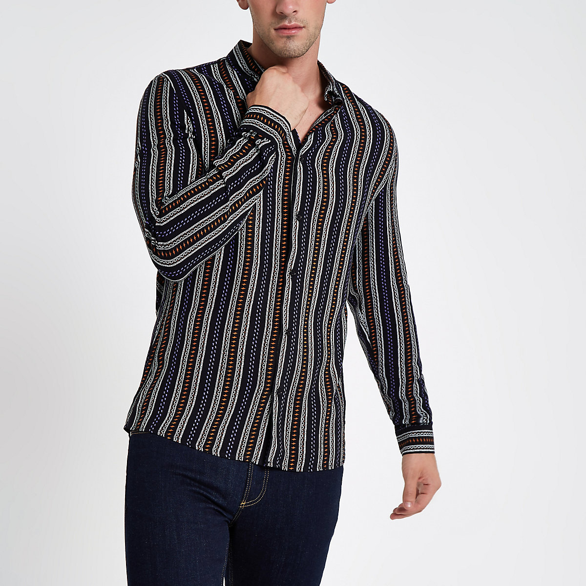 Black aztec stripe print long sleeve shirt