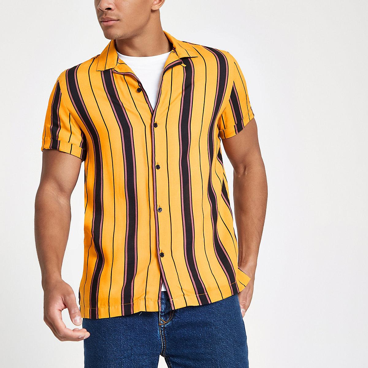 Yellow Stripe Short Sleeve Revere Shirt Short Sleeve Shirts