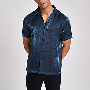 Blue metallic short sleeve revere shirt