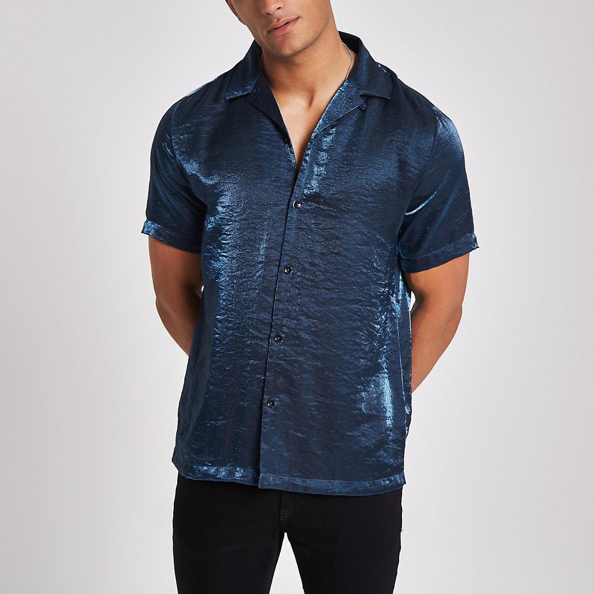 Blue metallic short sleeve revere shirt
