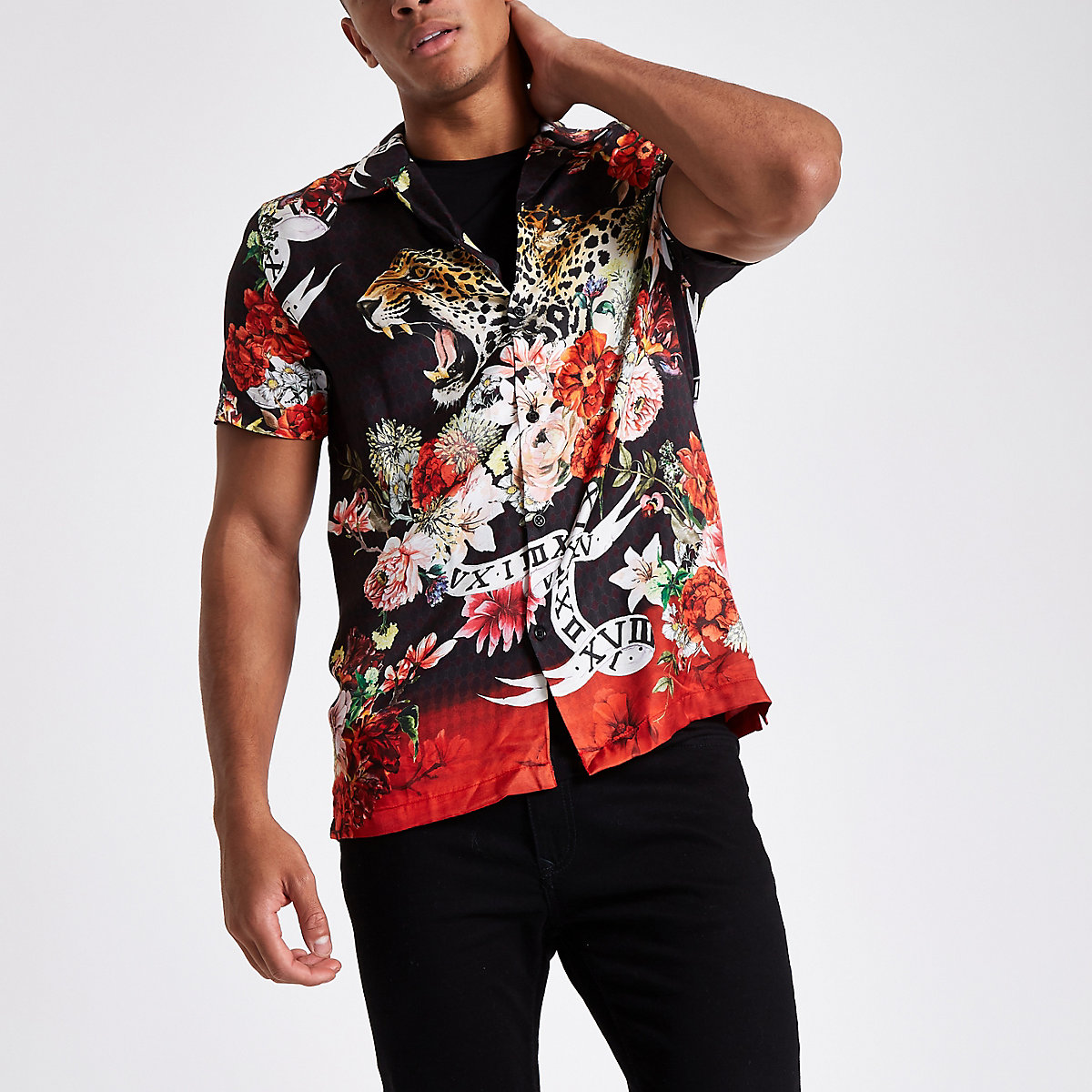 Black floral and animal print revere shirt