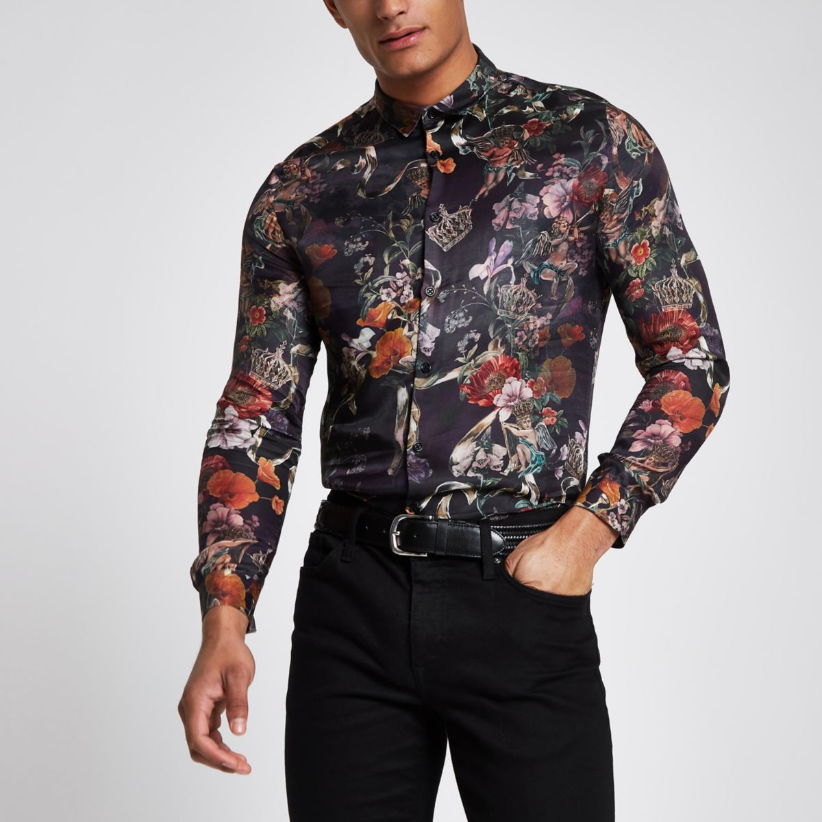 Black floral button-up shirt
