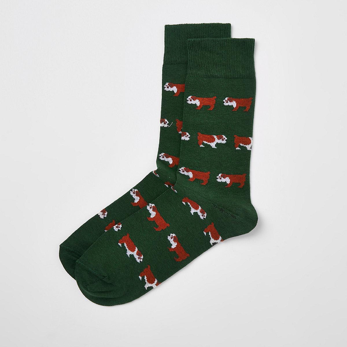 Green bulldog print socks