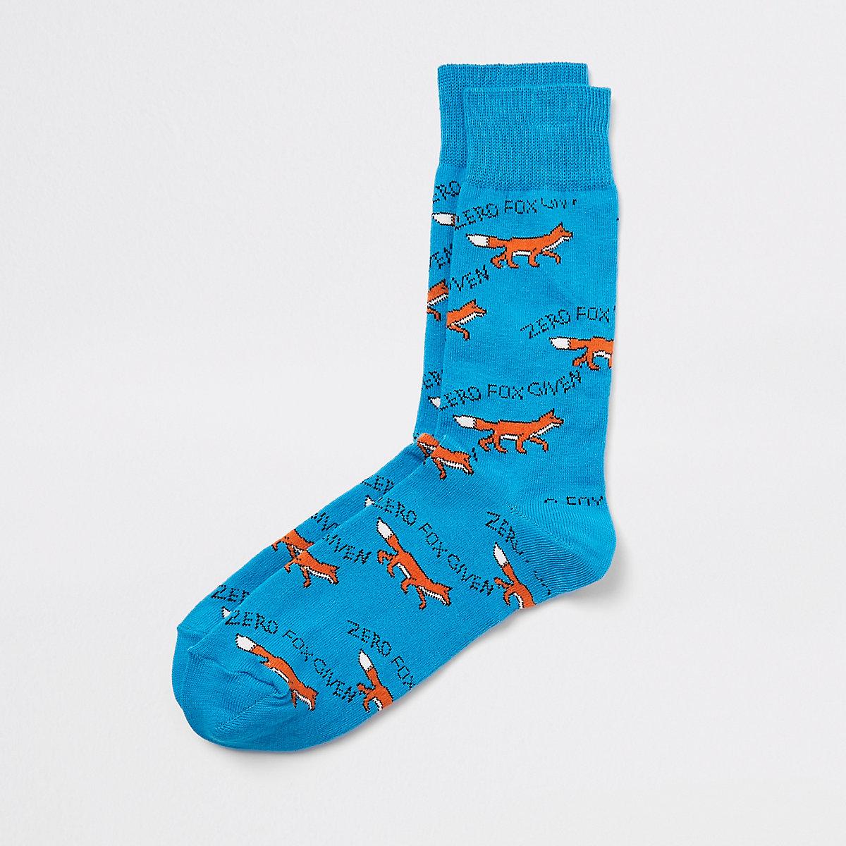 Blue fox print socks