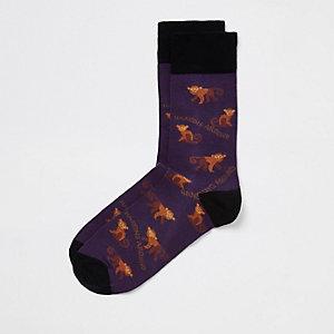 Socken in Lila mit Affen-Print