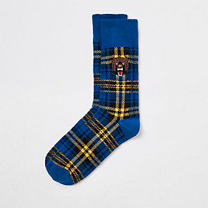 Blaue, karierte Socken mit Stickerei