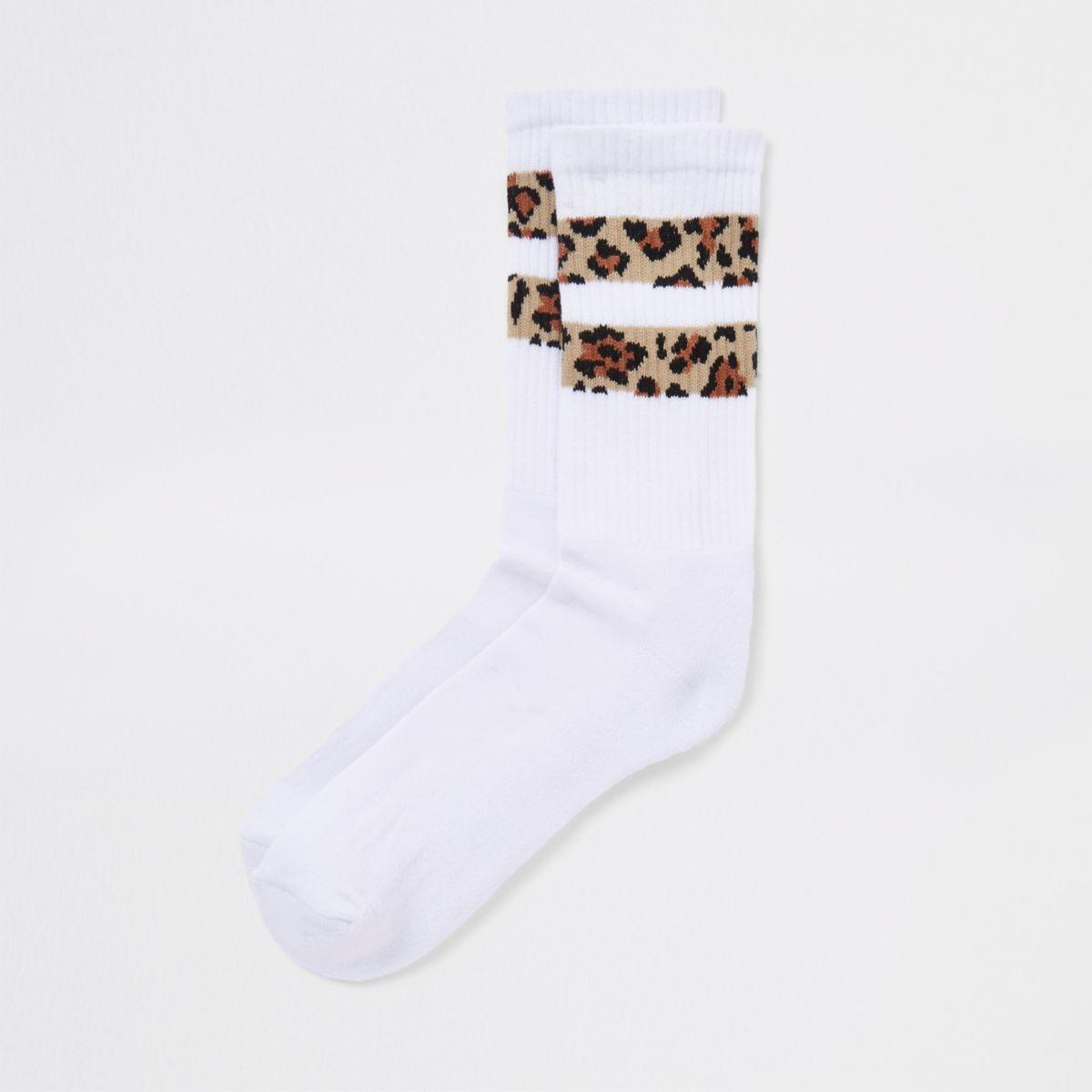 White leopard stripe print socks