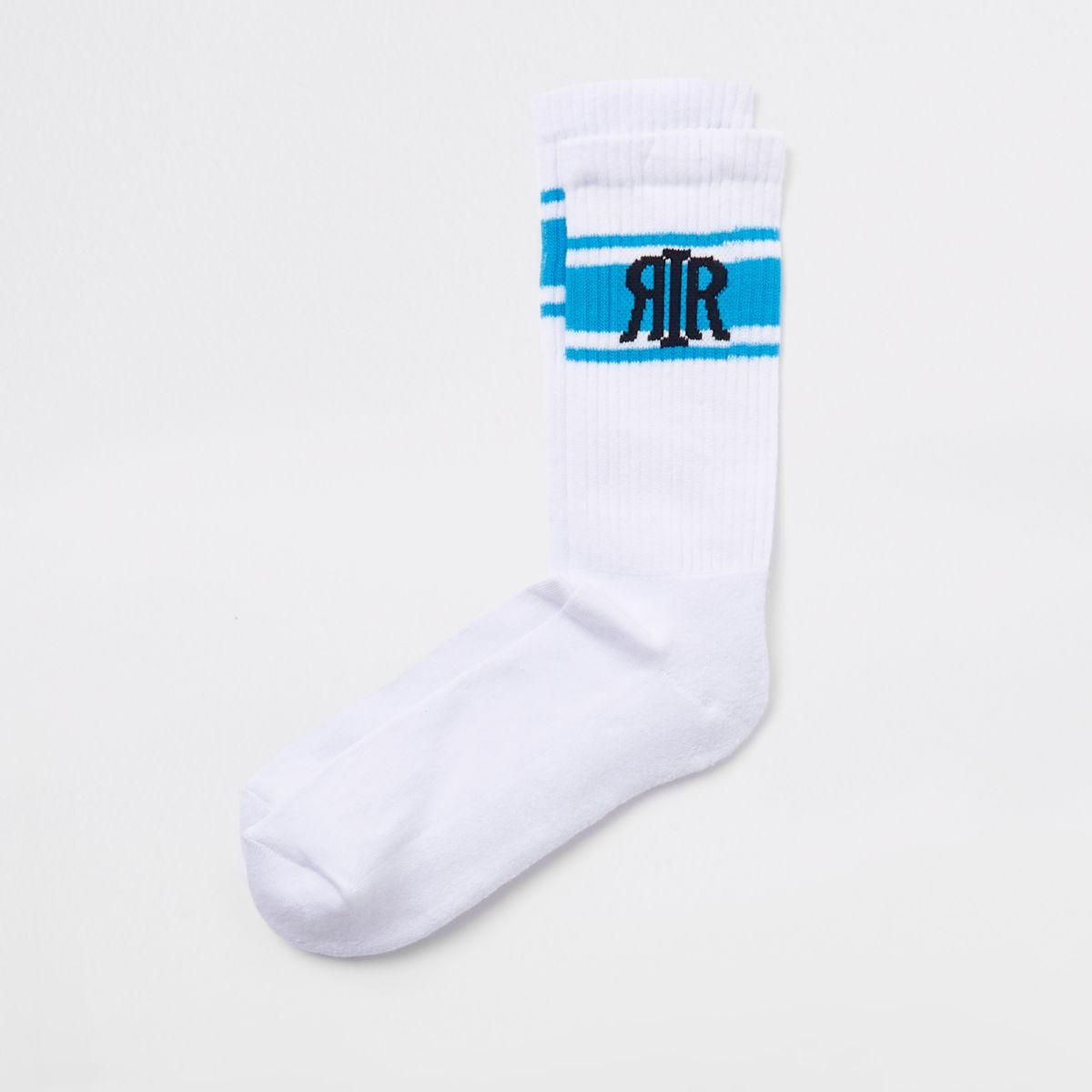 White RI branded socks