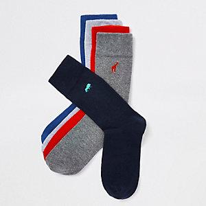 Mehrfarbige Socken mit Animal-Print im Set
