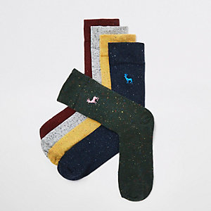 Black stag embroidered socks multipack