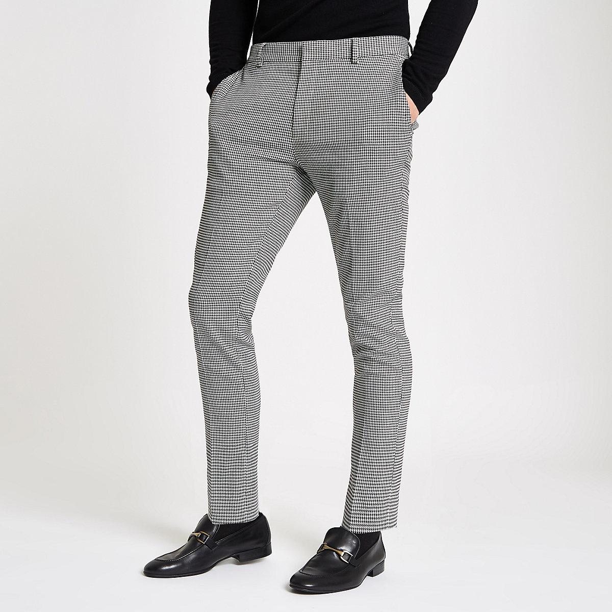 Black check super skinny trousers