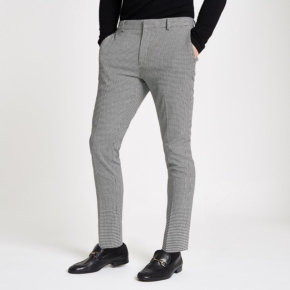 Grey check super skinny pants