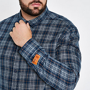 Only & Sons Big & Tall navy check shirt