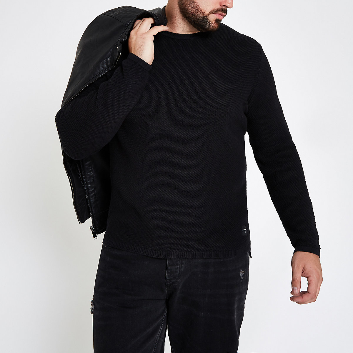 Only & Sons Big & Tall black crew neck jumper