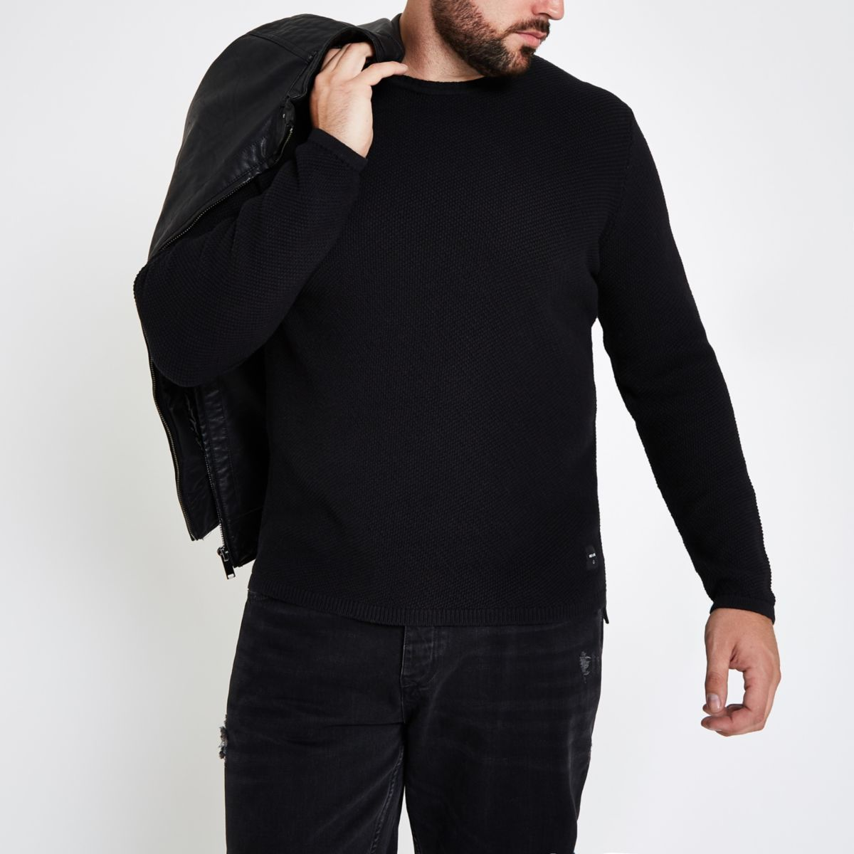 Only & Sons Big & Tall black crew neck sweater