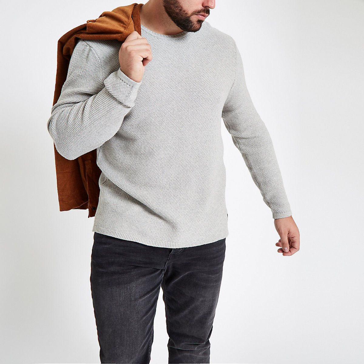 Only & Sons Big & Tall grey crew neck sweater